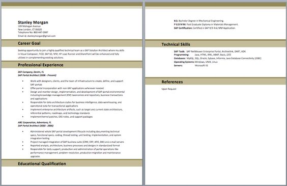 SAP Trainer Resume Resume Pinterest - web architect resume