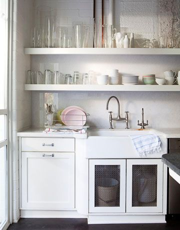 love this sink, base cabinets & open shelving in white
