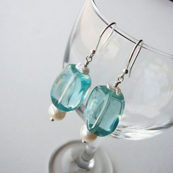 Pearls Blue Quartz Glass Earrings Sterling by CalliopeAZCreations, $24.00