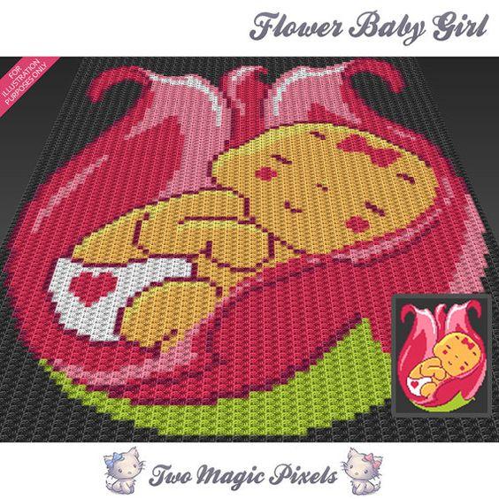 Flower Baby Girl c2c graph crochet pattern; instant PDF ...