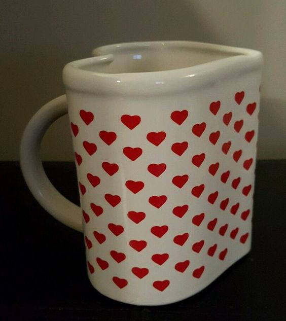 Heart shaped ceramic coffee tea mug red white valentines day romantic gift