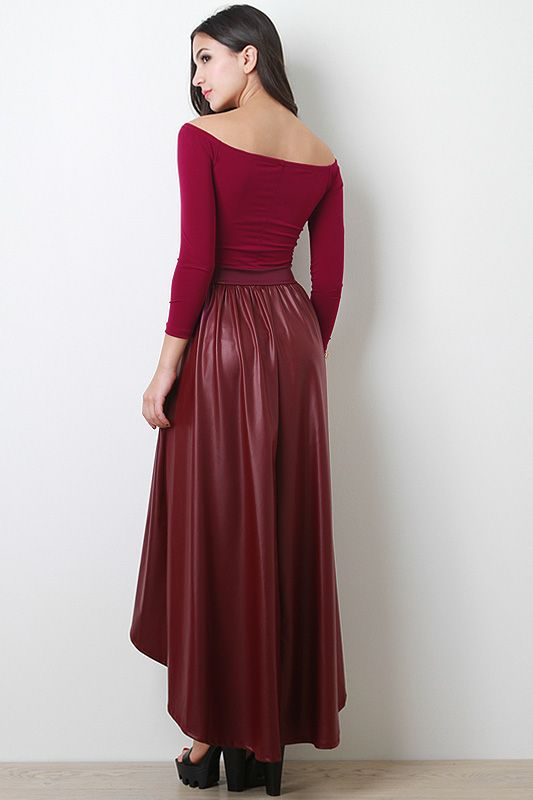 Knit and Leatherette Maxi Dress
