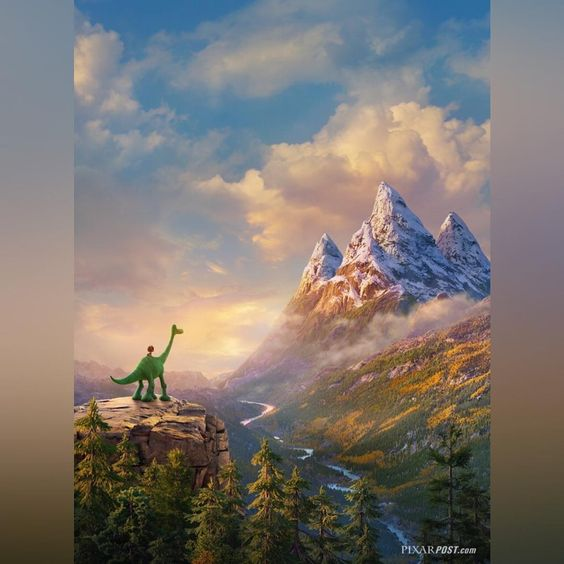 Beautiful French teaser poster (previously released with a title block but now without) for #TheGoodDinosaur - view more #TheGoodDino concept art & screenshots in the Pixar Post Gallery (click the link in our bio for direct link). #Pixar #PeterSohn #Arlo #Spot