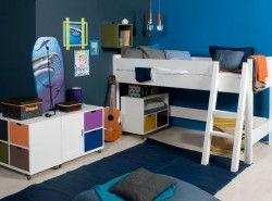 set montage lit mezzanine mi-hauteur COMBIFLEX MIX&MATCH blanc échelle droite - BOPITA