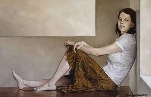 """Girl in Brown Shirt, 40"""" x 26"""", oil 