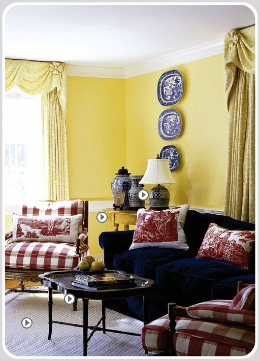 Triadic color scheme red blue yellow primary color - Red and yellow living room decorating ideas ...