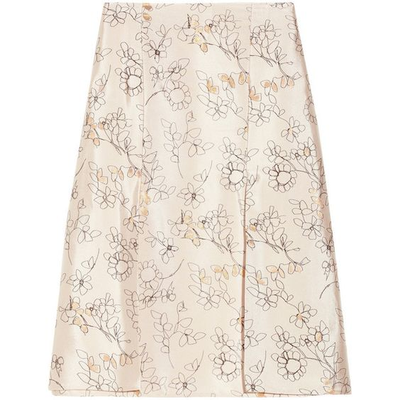 Marni Embroidered metallic woven skirt (5,435 MXN) ❤ liked on Polyvore featuring skirts, pink knee length skirt, knee length skirts, knee high skirts, marni and woven skirt