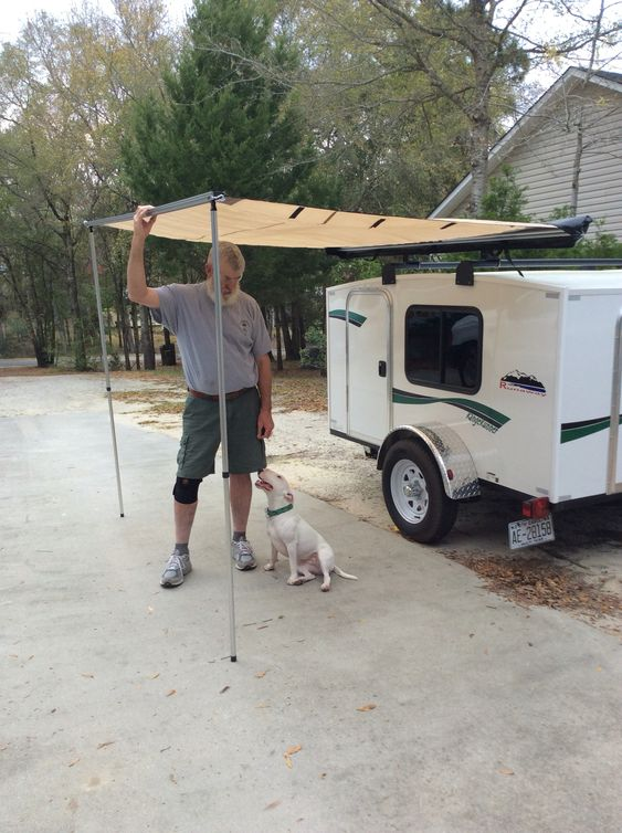 Attached Awning To My Runaway Camper Camper Pinterest