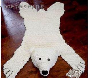 Crocheted Animal Rug Patterns Etsy In 2020 Bear Skin Rug Bear Rug Polar Bear