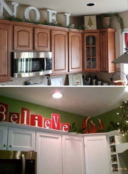 53 Best Ideas How To Decorate Diy Kitchen Cabinets Decorating Above Kitchen Cabinets Christmas Kitchen Decor Kitchen Cabinets Decor