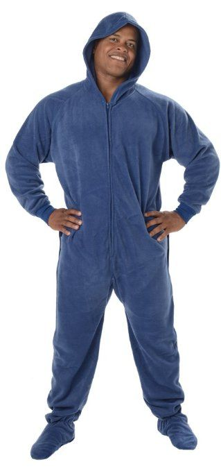 Footed #Pajamas Cozy Blue Adult Hoodie Drop Seat | Mens Footed ...
