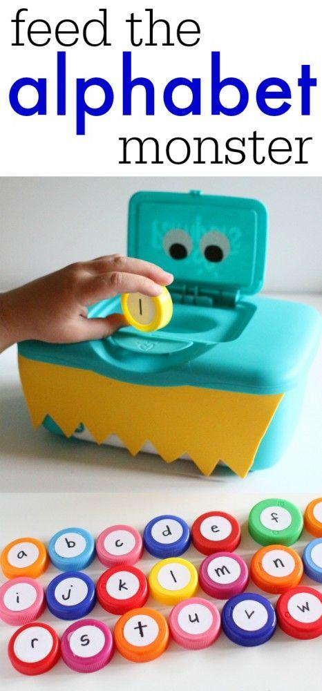 """GENIAL Y ECONÓMICO!!! """"Alimenta al Mountro come Letras"""" Usa una caja vacía de toallitas húmedas, pintala y decorala con fomy (Goma Eva). Para las letras usa tapas de botellas plásticas y etiquetas adheribles redondas (o recórtalas de papel y pégalas con goma - pinta las letras ¡Y LISTO! Ahora el """"monstro"""" quiere comer una """"A"""", una """"s"""""""