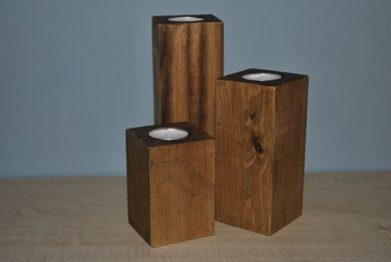 Three square t light holders by Iwoodwoodyou on Etsy, £10.00