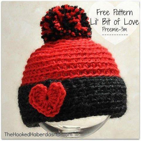 Lil' Bit of Love Hat http://thehookedhaberdasher.com/free-pattern-lil-bit-of-love/PIN https://www.pinterest.com/pin/159666749266638318/