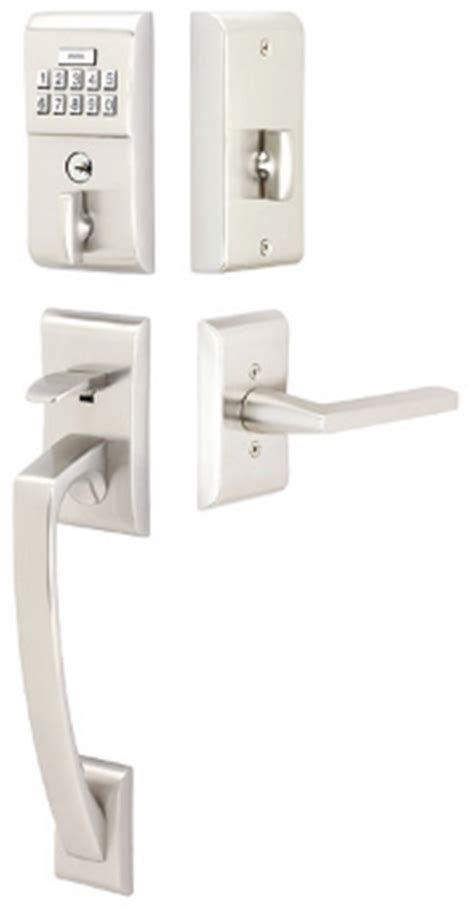 Electronic Keyless Door Lock Set Satin Nickel Shop Lockstate Ls Silver Single Cylinder Motorized Keyless Electro In 2020 Modern Door Hardware Emtek Front Door Hardware