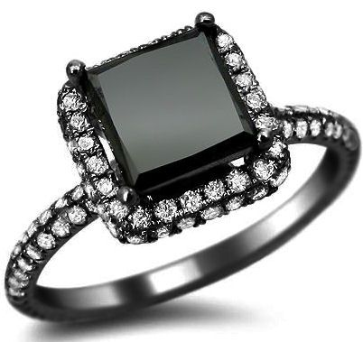 2.56ct Black Princess Cut Pave Diamond Engagement Ring 18k Black Gold / Front Jewelers