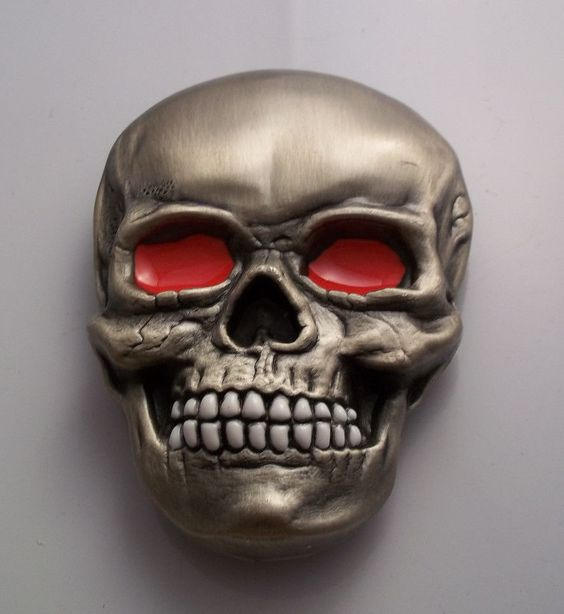 Skull Belt Buckle with Red Eyes