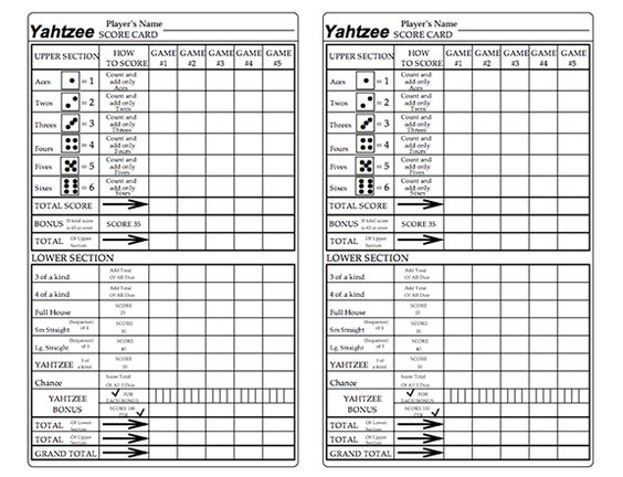 Here 39 s a printable set of yahtzee score cards with a row for Yahtzee tabelle