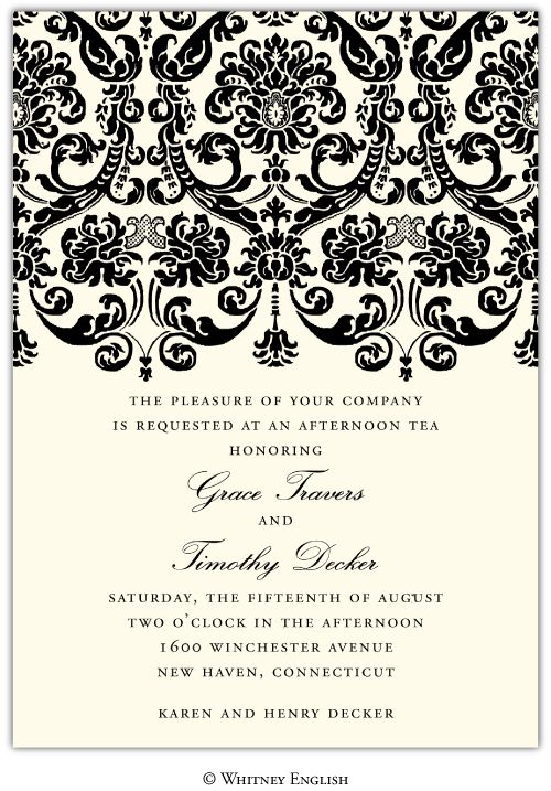 Personalized damask invitations.  Love! www.eloquenceonline.com