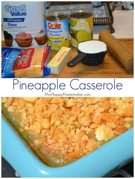 This pineapple casserole is super easy to make – and it is one of my favorite side dishes. Perfect paired with a ham but fabulous with any other dish too!  Would be fabulous on Easter too.