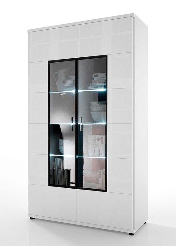 Vitrine Acorano mit 2 Türen Weiß Hochglanz 4590. Buy now at https://www.moebel-wohnbar.de/vitrine-acorano-mit-2-tueren-weiss-hochglanz-4590.html