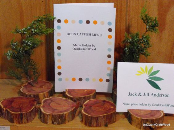 6 Rustic Wedding Place Card HoldersWedding by OzarkCraftWood