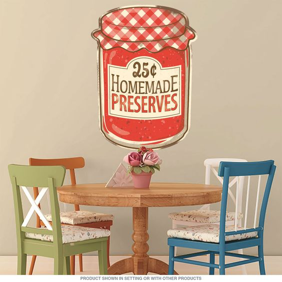 Add some rustic country store style to your walls with this Homemade Preserves Wall Sticker! This durable wall decal sports gorgeous colors and attention to detail. Perfect decor for any country kitchen, this removable wall decal applies in an instant and is easy to take off if you feel like a change.