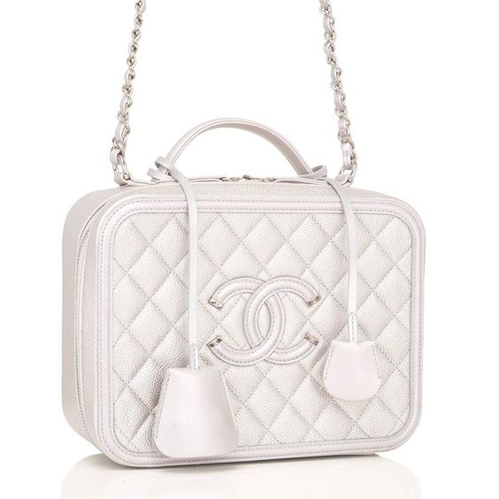 Chanel Silver Caviar Medium Filigree Vanity Case