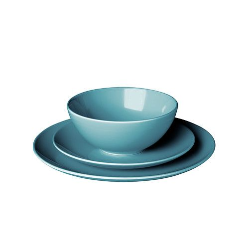 IKEA - FÄRGRIK, 18-piece service, turquoise, , The dinnerware's simple, functional design is easy to coordinate with other colours and shapes - and makes FÄRGRIK the perfect base for many types of meals.