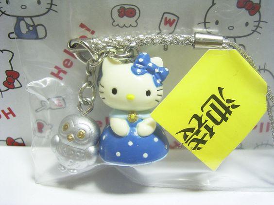 HELLO KITTY GOTOCHI Ikebukuro TOKYO JAPAN Only! Figure w/ Owl Strap Sanrio 2001 2.5cm 59.99