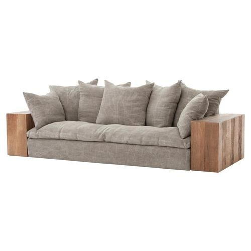 Dorset Industrial Loft Taupe Jute Sofa With Wood Arms