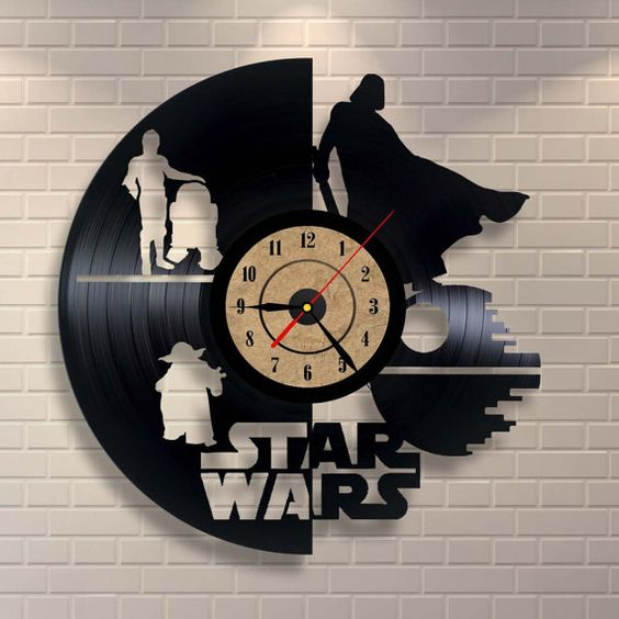 Star Wars baby girl art vinyl wall record clock: