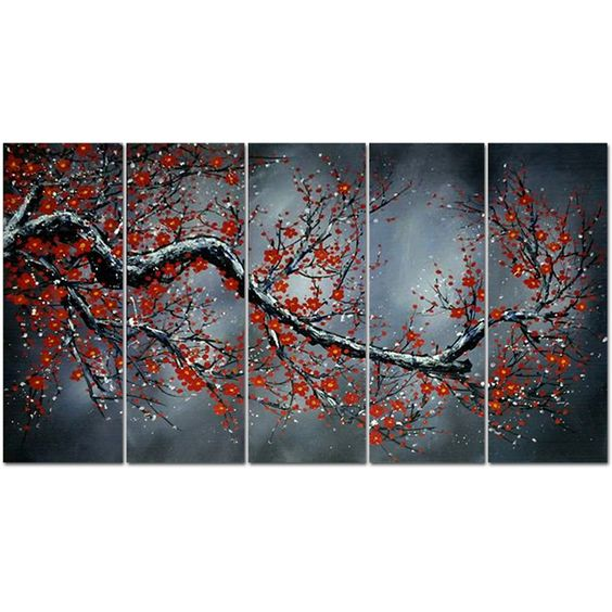 - Description - Why Accent Canvas? This exquisite Contemporary Red Black Floral Glory canvas wall art oil painting is 100% hand-painted on canvas by one of our master artists. Each artists begins with