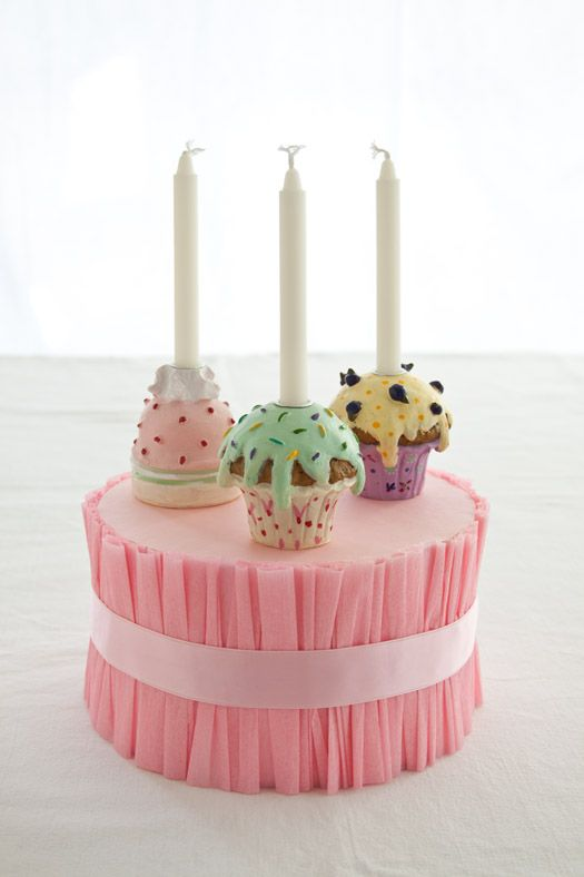 DIY ruffled cake stand out of styrofoam: Cupcake Stands, Cupcake Candle, Cupcakes Stand, Cup Cake, Birthday Cake, Crepe Paper, Party Ideas