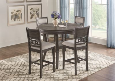Brookgate Gray 5 Pc Round Counter Height Dining Set Dining Room Sets Dining Table Dimensions Round Dining Set