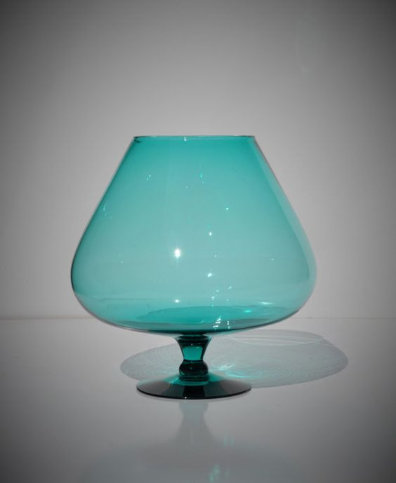 Oversized Blue Glass Brandy Snifter Vintage Murano by FabsAndFaves