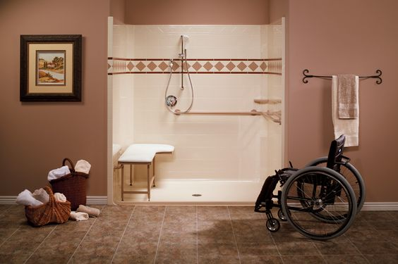 Wheelchair accessible shower system complete with seat, grab bar and ...