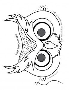 owl mask coloring page 231x300 cute printable halloween