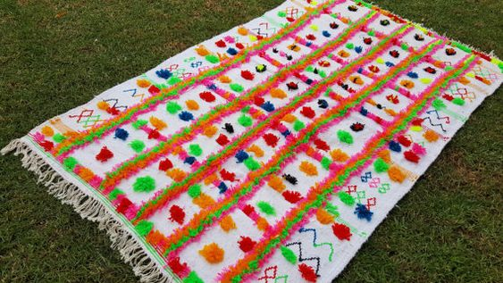 "90""X49"" Hand-woven Moroccan Cotton Throw Blanket Inspired Moroccan Wedding Blanket, Can used as Moroccan carpet"