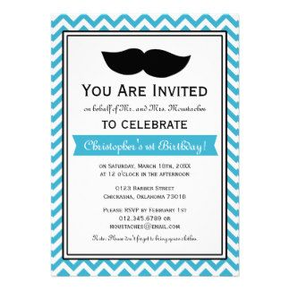 Birthday Moustache Invitations, 139 Birthday Moustache Announcements & Invites