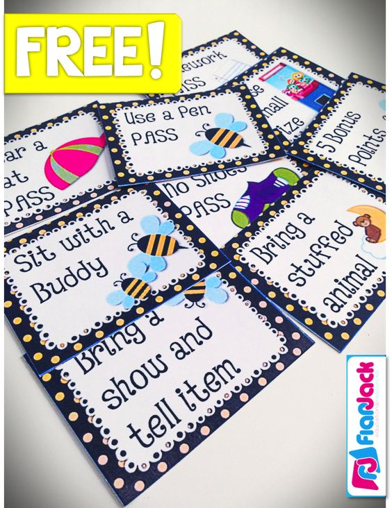 Classroom Coupon Ideas ~ Free bee themed positive classroom behavior coupons and