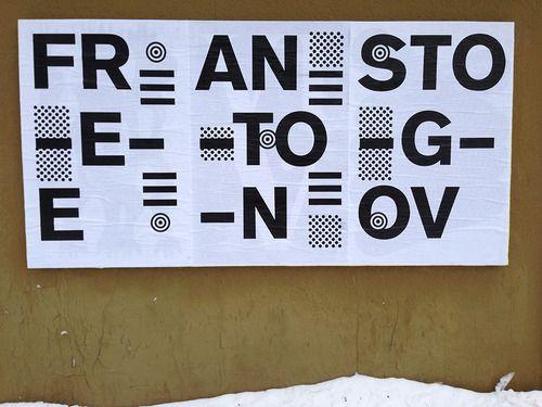 "Erik Brandt, Ficciones Typografika 222-224 (24""x36""). Installed on February 3, 2014. More on Ficciones Typografika."
