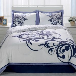 The Delano Blue 4 Piece Comforter Set features a soft luxurious twi...