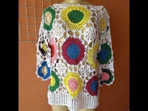 Blusa Colorida De Croche Passo A Passo Youtube Com Imagens