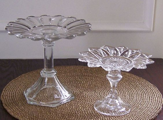 Plate stands, These are made from candle holders and plates.  They can be made with clear glass (antique or new) or crystal pieces., Home Decor Project