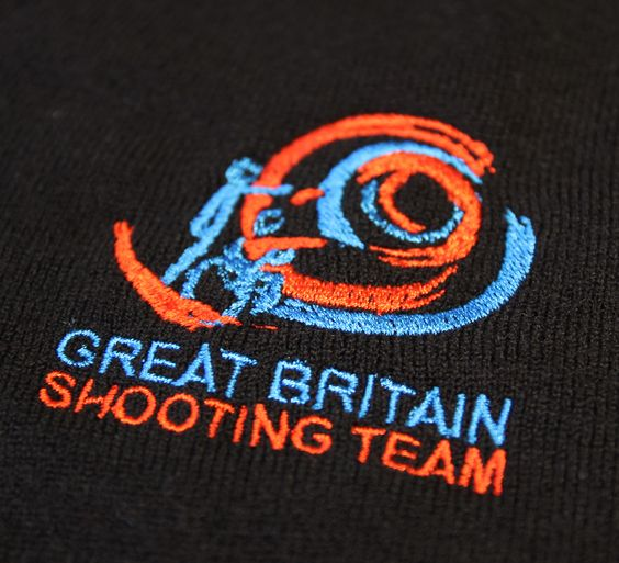Embroidered knitted jumpers for the Great Britain Shooting Team
