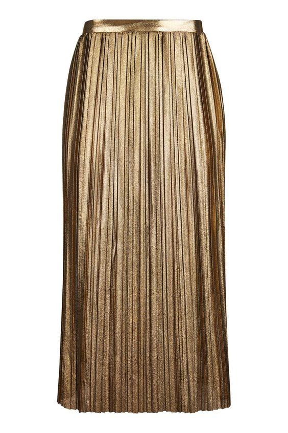 TALL Metallic Jersey Pleat Skirt