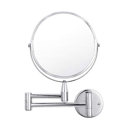 Wall Mounted Makeup Magnifying Mirror 1x 5x Magnification Vanity Extendable Double Sided 360 Degrees Swivel Chrome Finished Mirrors For Bedroom Bathro Makeup Magnifying Mirror Wall Mounted Makeup Mirror Magnifying Mirror