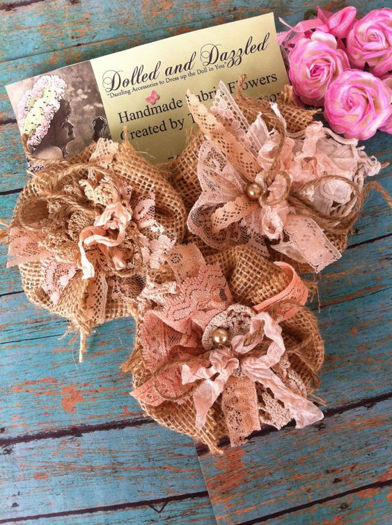Set of 5/ MADE TO ORDER/ Burlap and Lace by DolledandDazzled