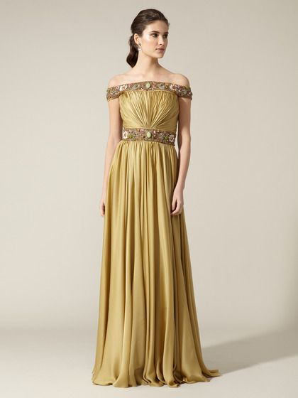 Certainly not my color, but I love the details  (Silk Sequin Embellished Enamel Trim Gown by Reem Acra on Gilt)